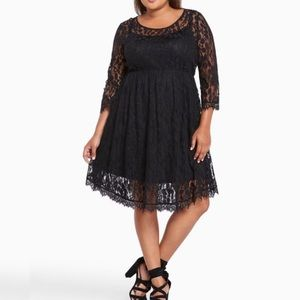 Torrid Black Lace V-Hem Skater Dress